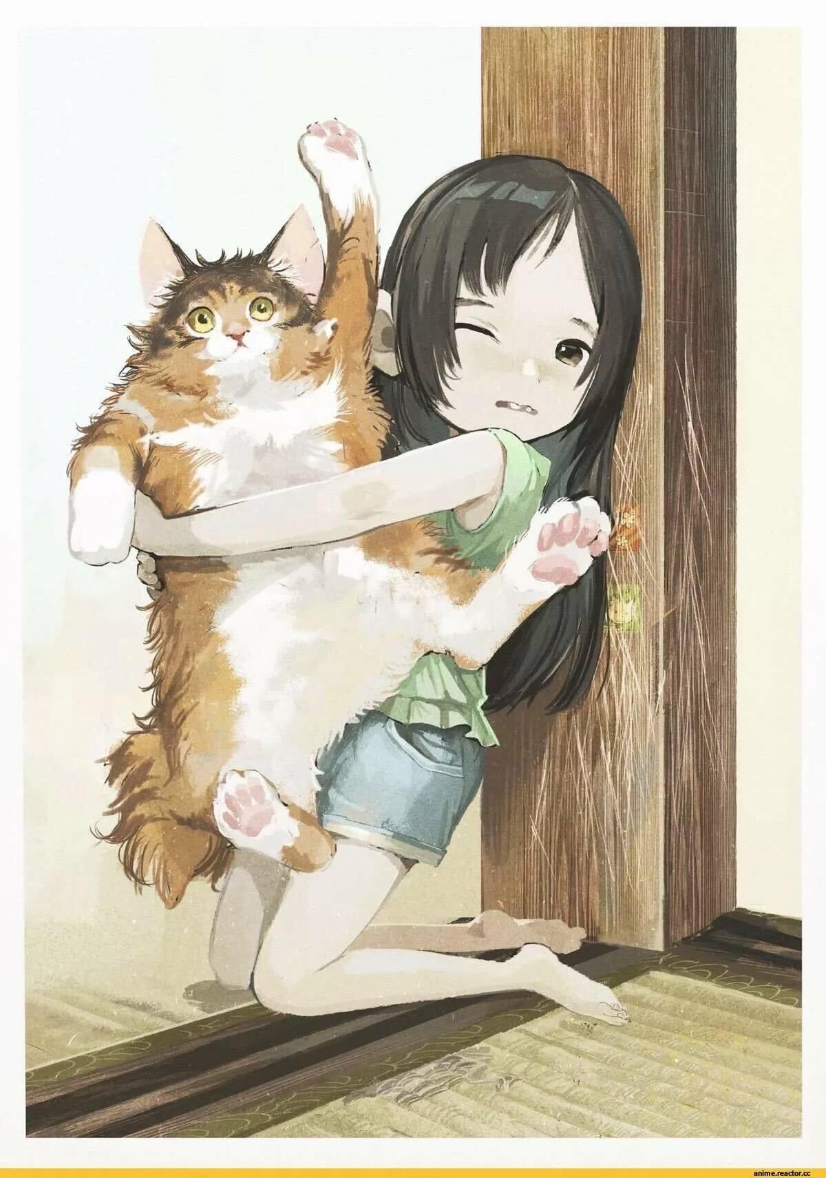 Рисунок девочка и котик