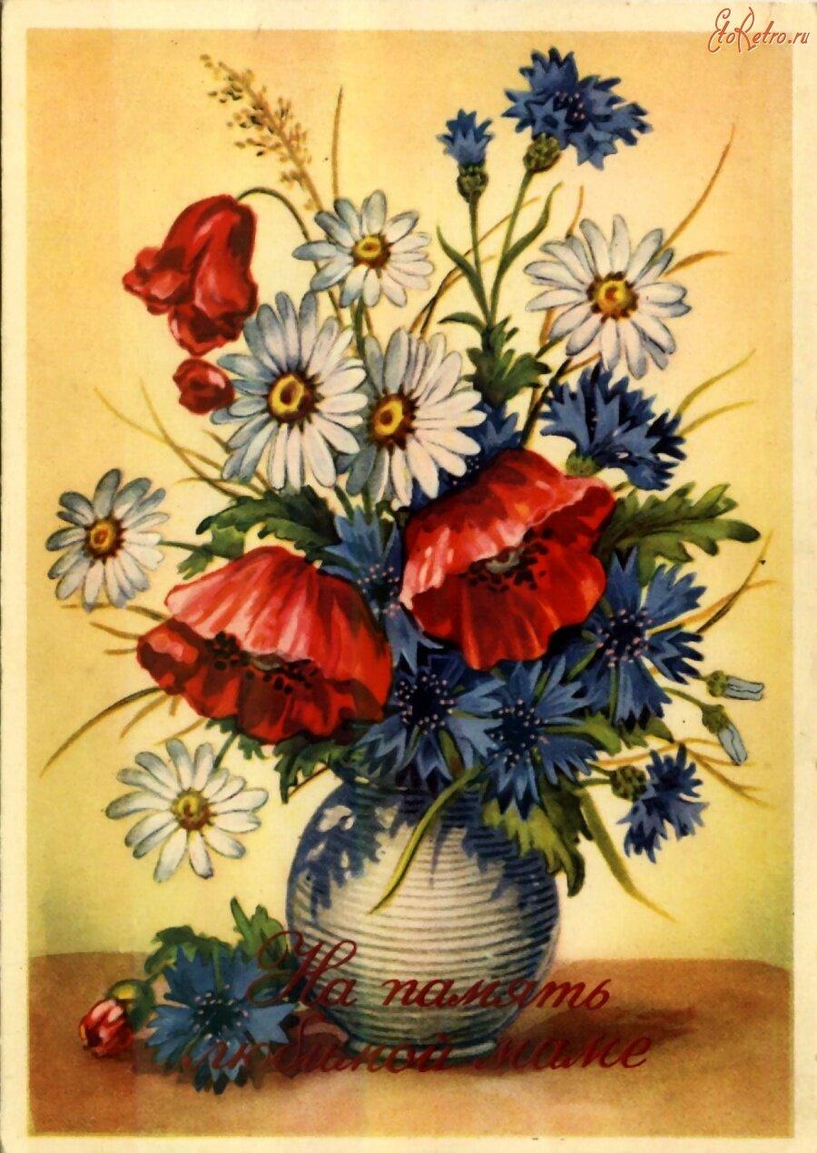 Советские открытки цветы в корзине одна камера