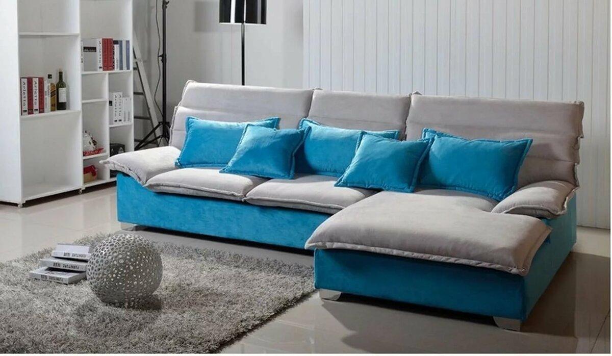 угловые диваны с берюзовава желтыми подушками фото название
