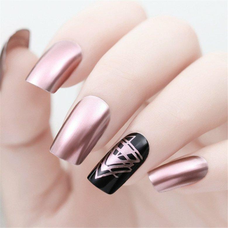 картинки с маникюром на ногтях гель лаком зеркальный виде горизонтальных