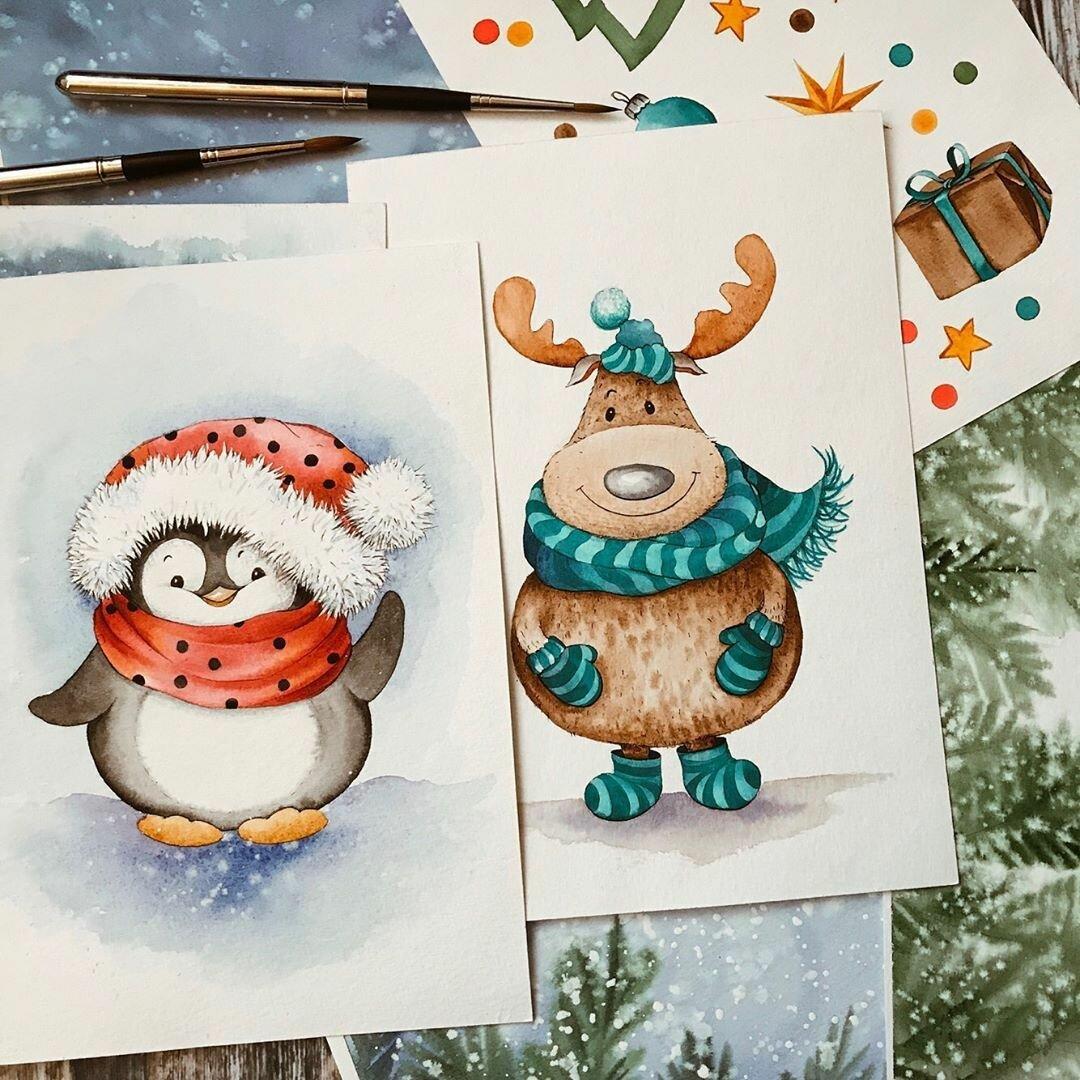 Новогодние рисунки открытки красками