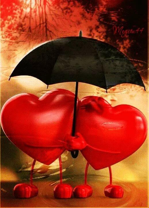 Картинка два сердца вместе я тебя люблю анимация, приколы приветом