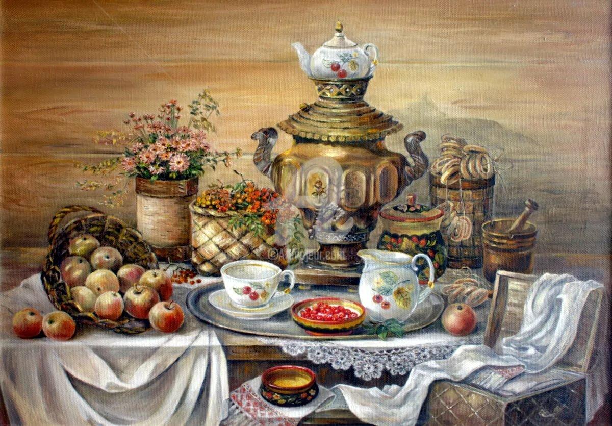 Картинки чаепития у самовара