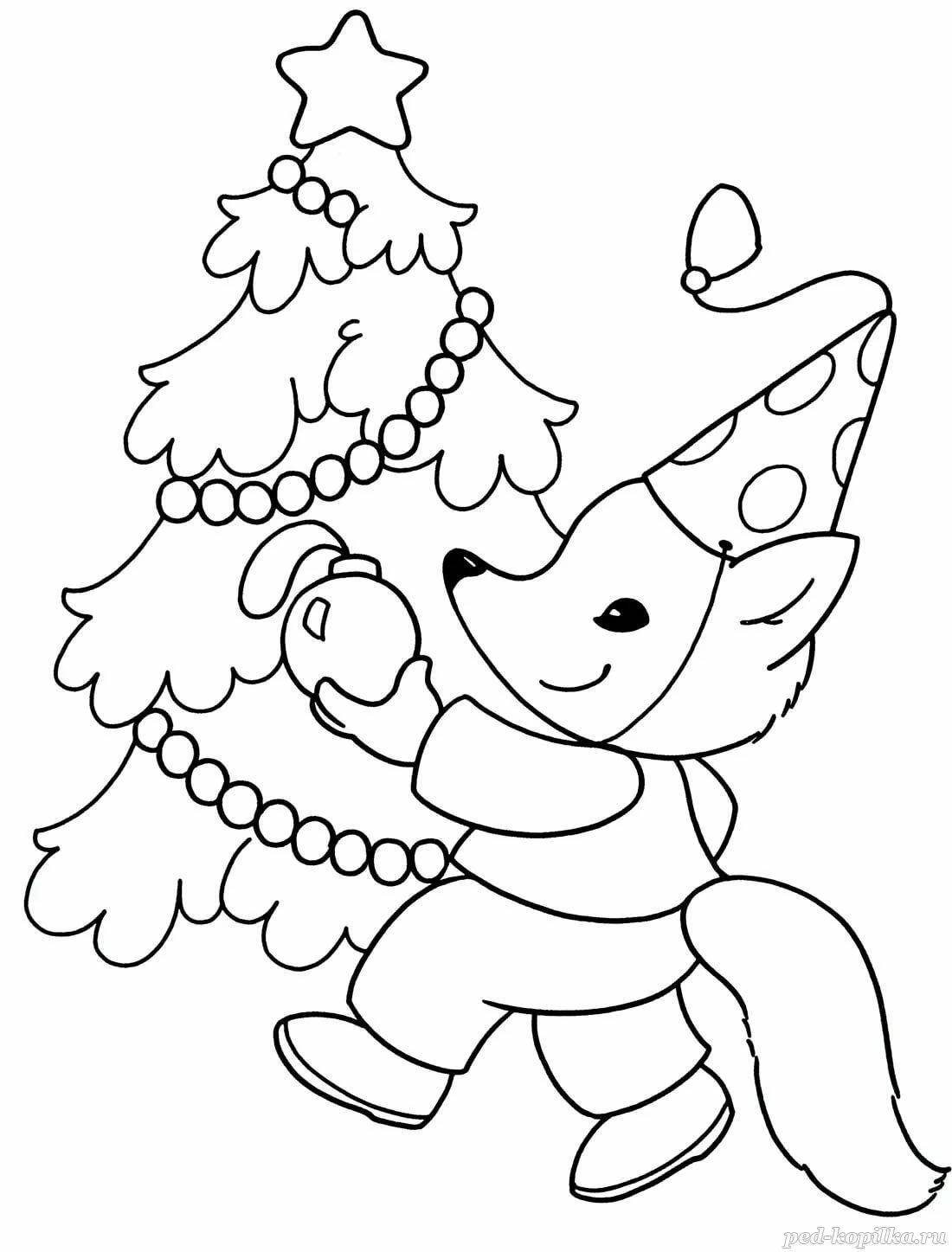 Распечатать новогодний рисунок для раскрашивания