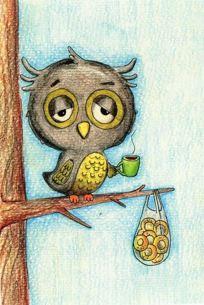 Гиф, сова смешные картинки рисунки