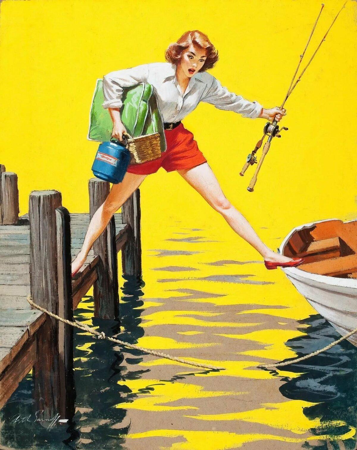 Женщина на рыбалке картинки прикольные, головой картинки