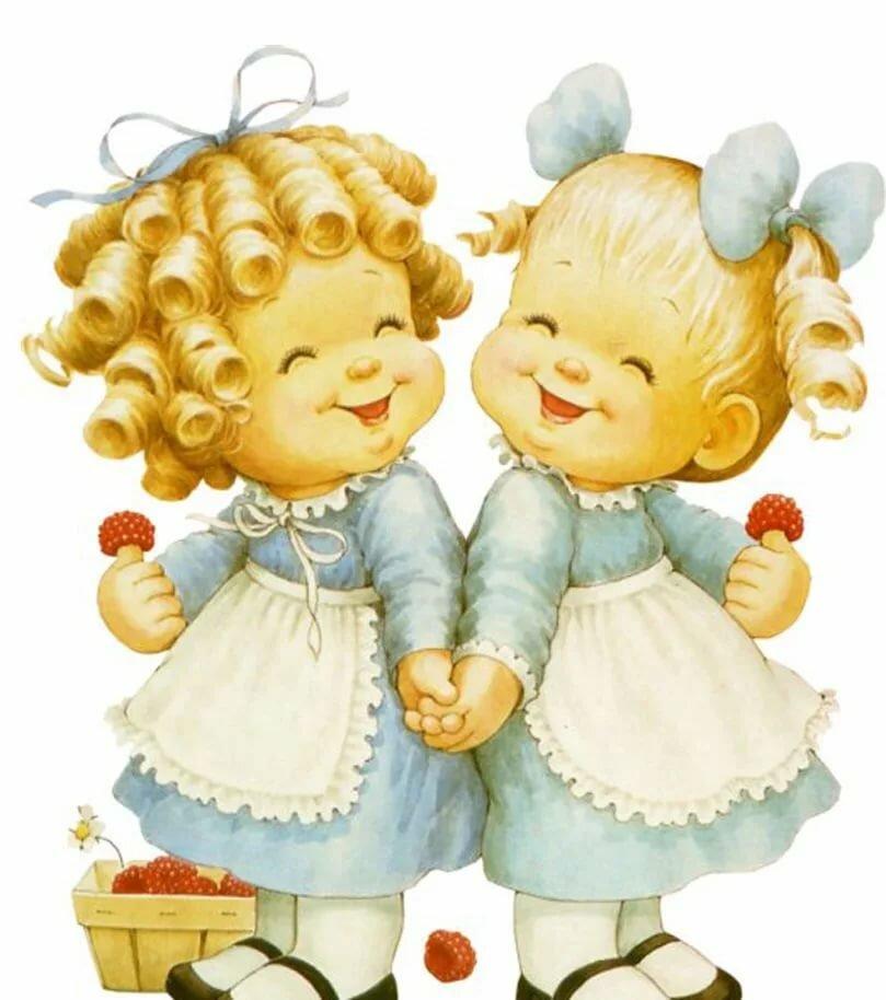 Открытки детям, открытки с юбилеем сестер двойняшек