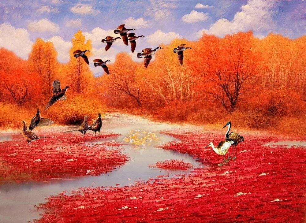 Картинка анимация про осень, дружбу картинки
