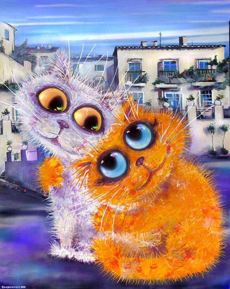 Картинка анимация, хорошего настроения открытка с котом
