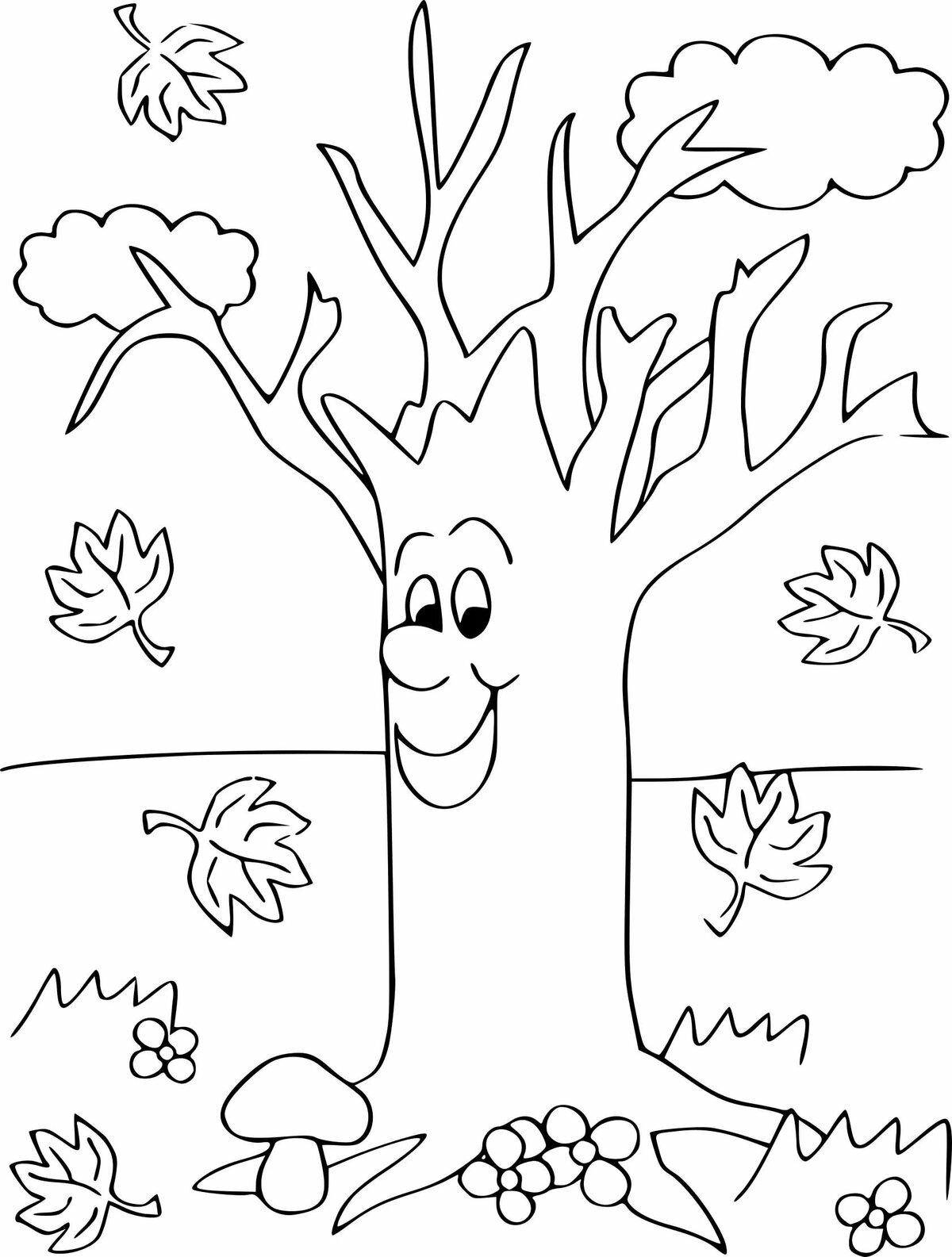 Детская раскраски про осень, открытка спасибо