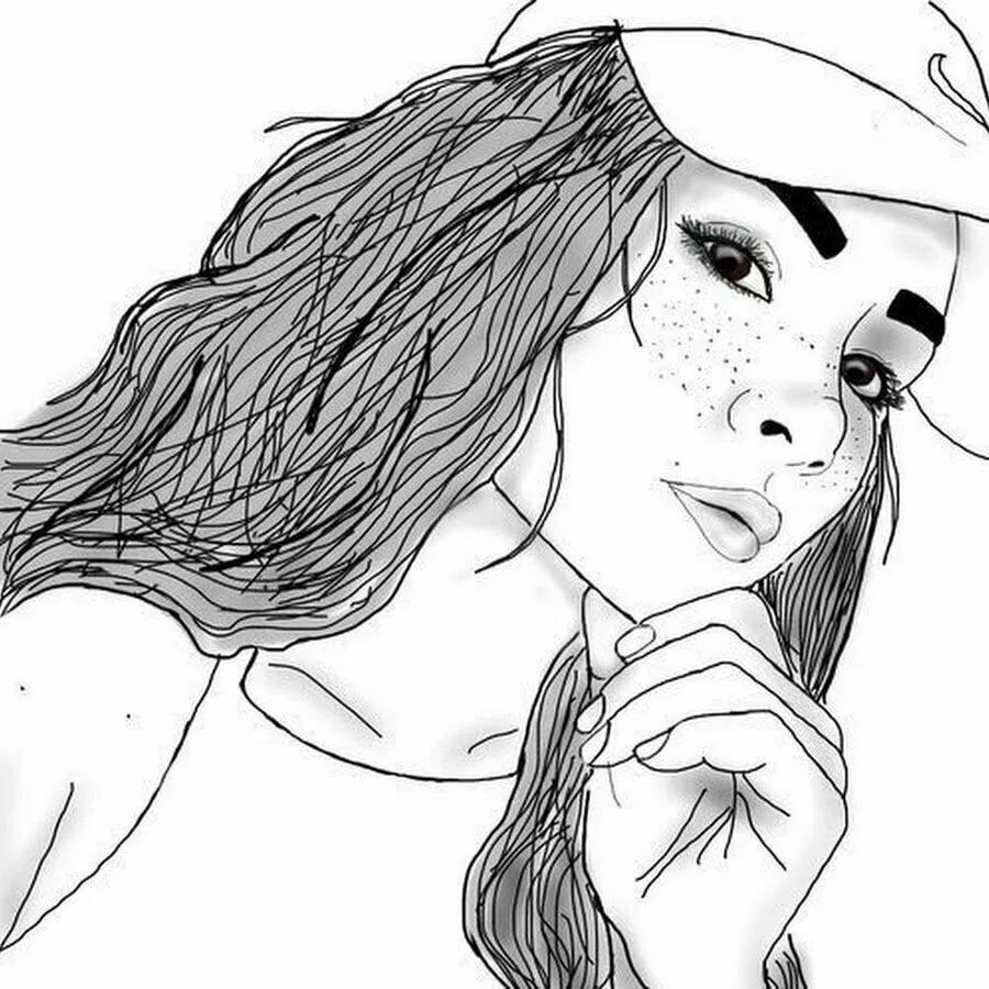 Мультики, веселые девушки картинки для срисовки