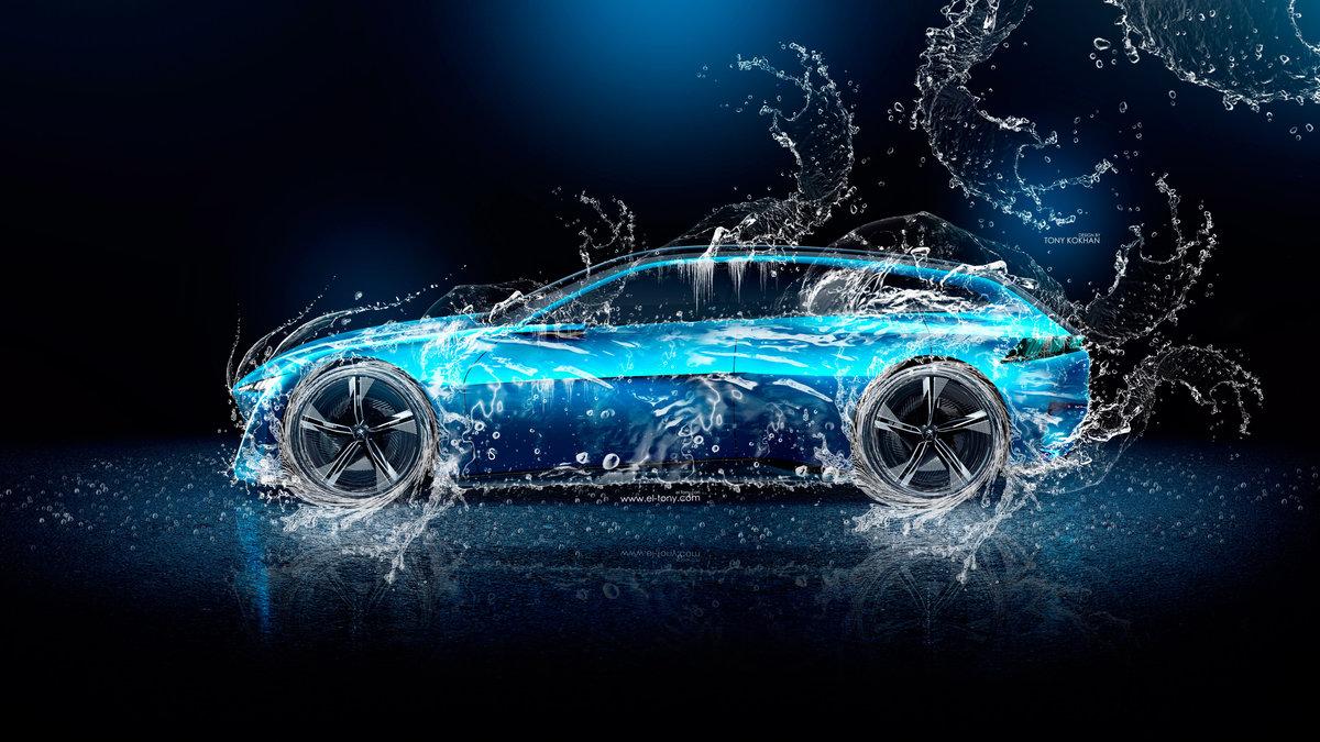 """""""Peugeot-Instinct-Side-Super-Water-Splashes-Car-2017-Blue"""