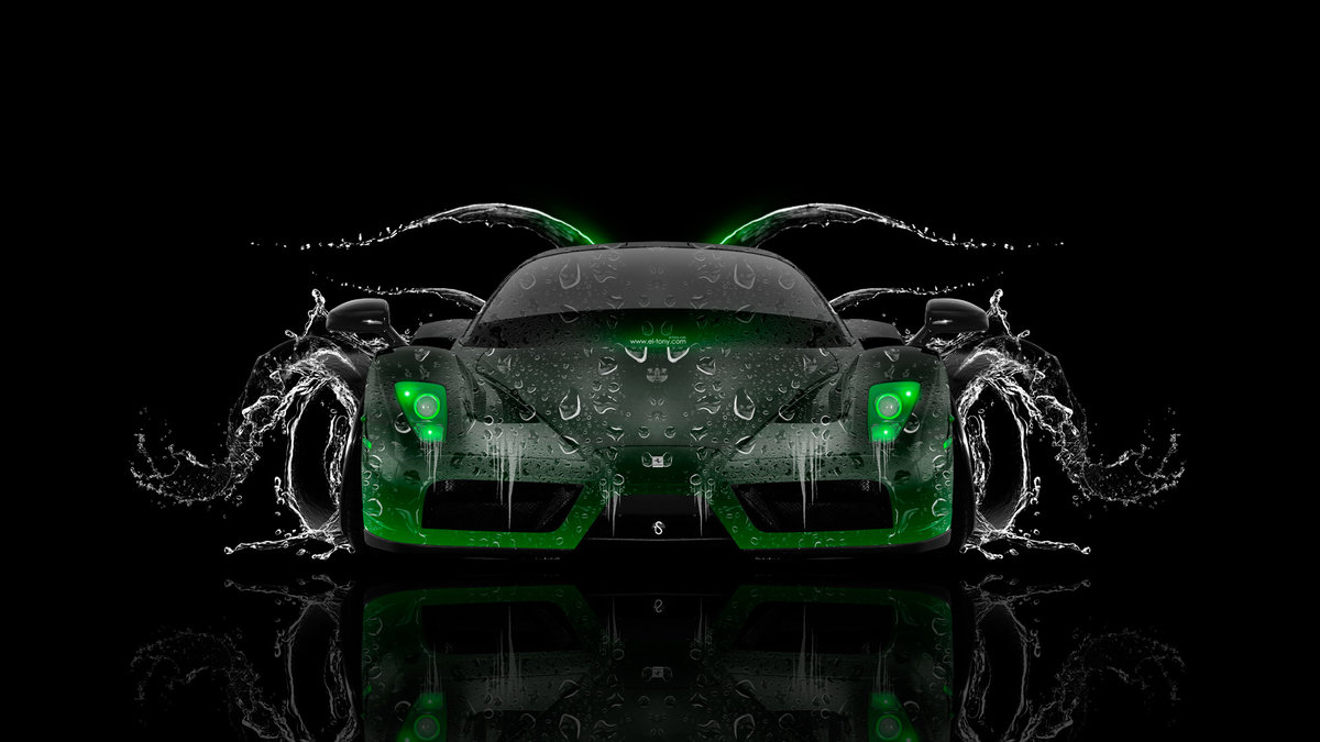 Ferrari Enzo Front Water Car 2014 Green Neon HD Wallpapers Design By ...