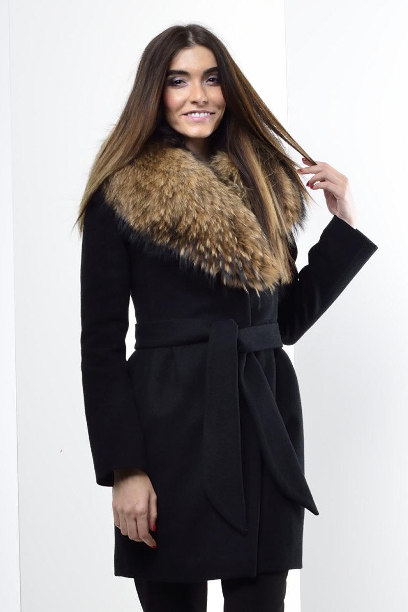 купить пальто с мехом на воротнике