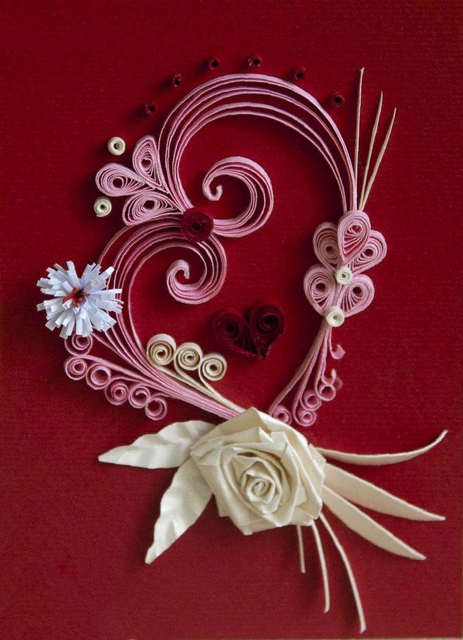 Открытка с днем валентина квиллинг