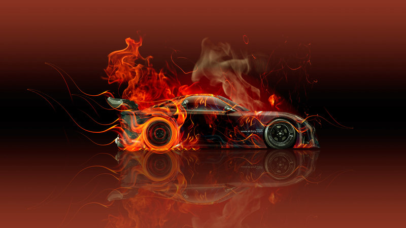 Lovely Mazda RX7 VeilSide JDM Side Fire Abstract Car