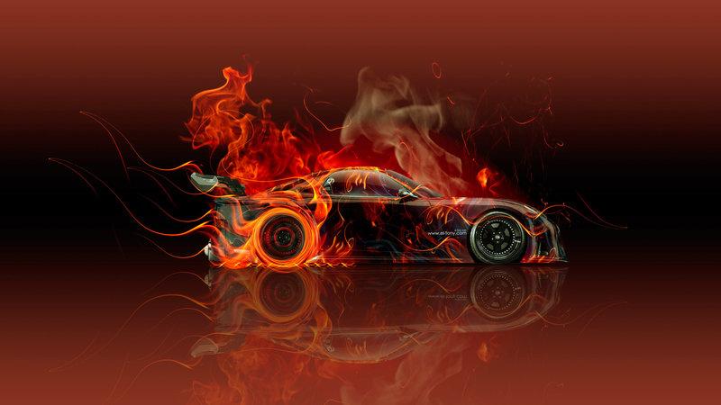 Mazda RX7 VeilSide JDM Side Fire Abstract Car