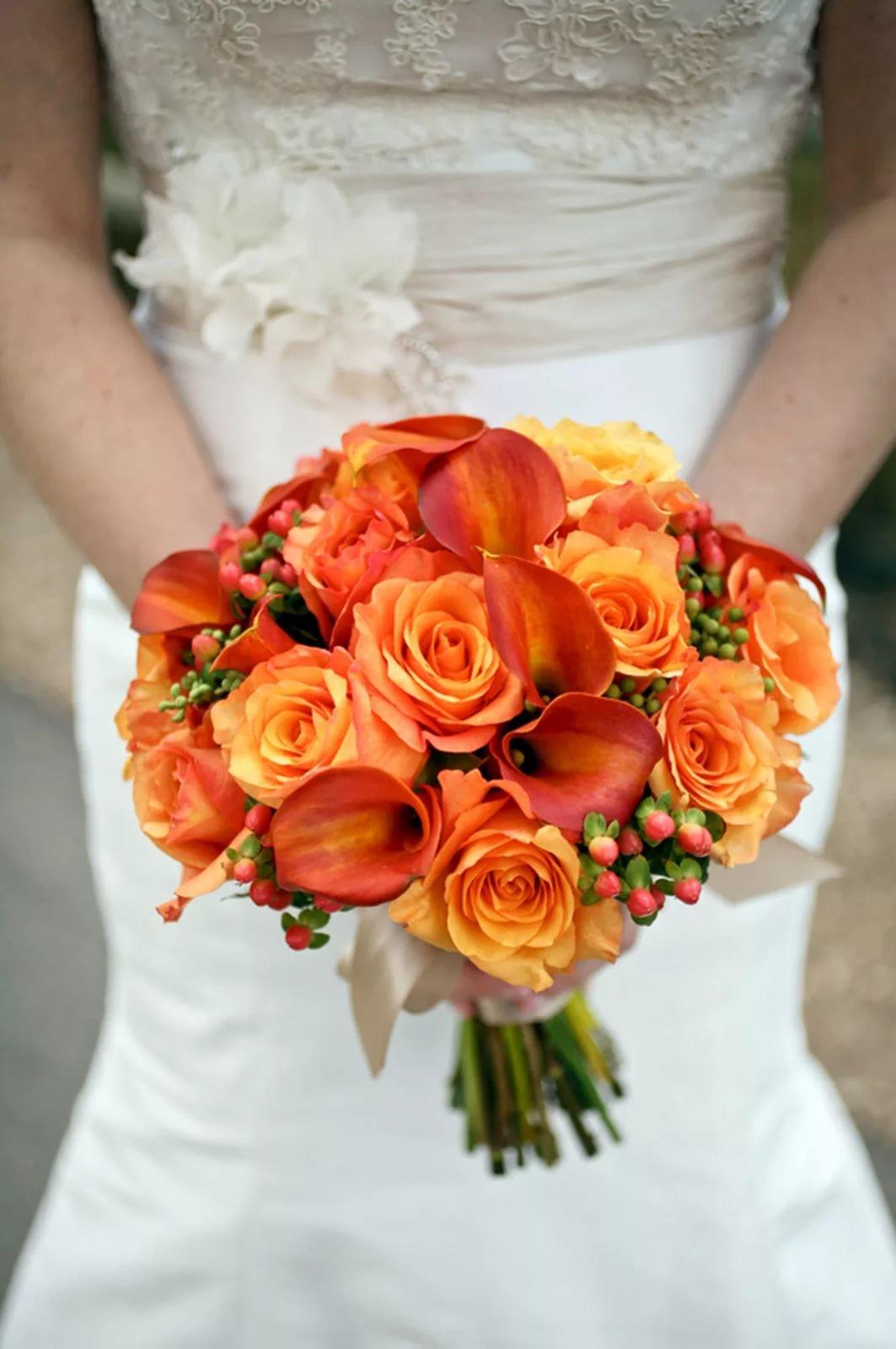 Букет невесты с флер-д-оранжевом, цветов эустомой