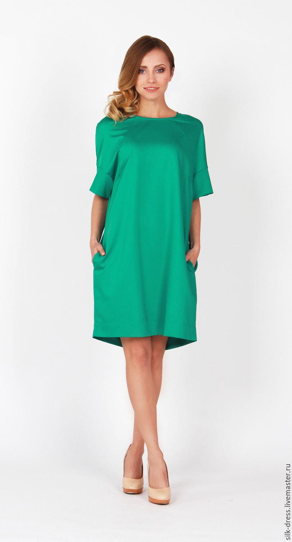 7647bc158eb Платье свободного кроя зеленого цвета с карманами Платье свободного кроя  зеленого цвета с карманами