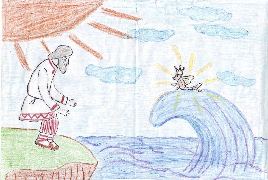 Картинки карандашом к сказке золотая рыбка