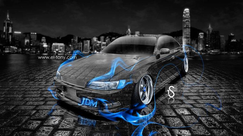 Toyota Mark 2 JZX90 JDM Tuning Blue Fire