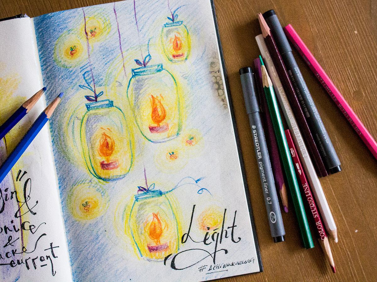 Открытки с цветными карандашами