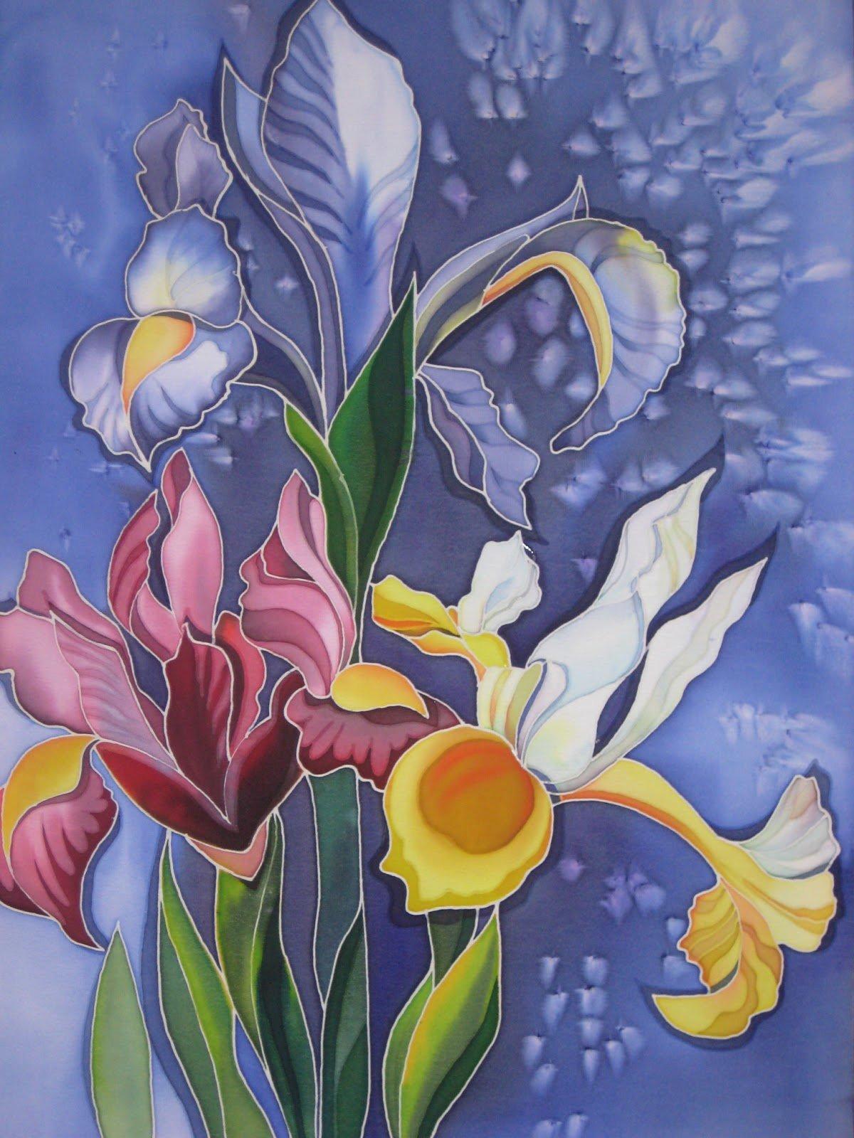рисунок батик цветы первом запуске