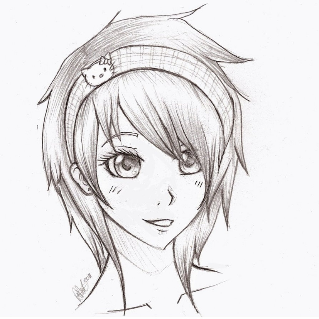 Anime pic girl pencil art cute anime girl face drawings penc