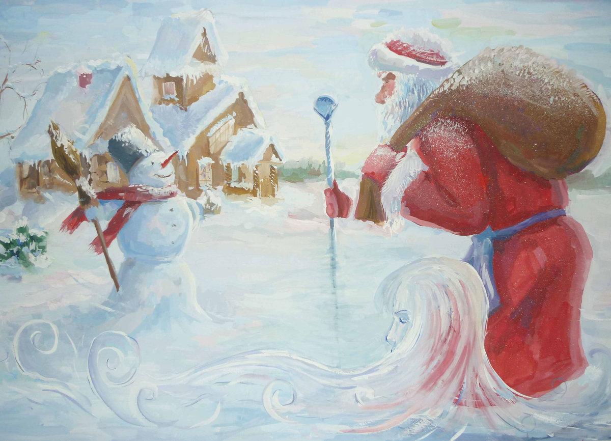 Картинки новогодняя сказка для срисовки, открыток