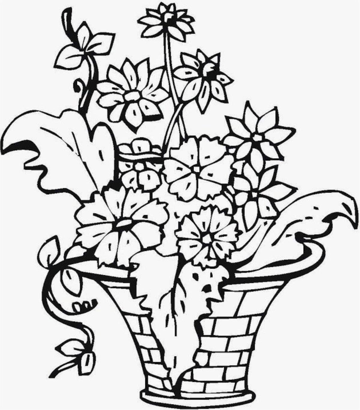 «Раскраски цвет, Раскраска Ваза с цветами Ваза ...