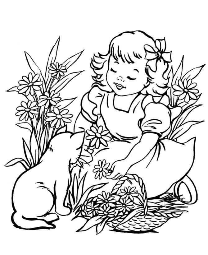 Брата, девочка с котенком картинки для распечатки