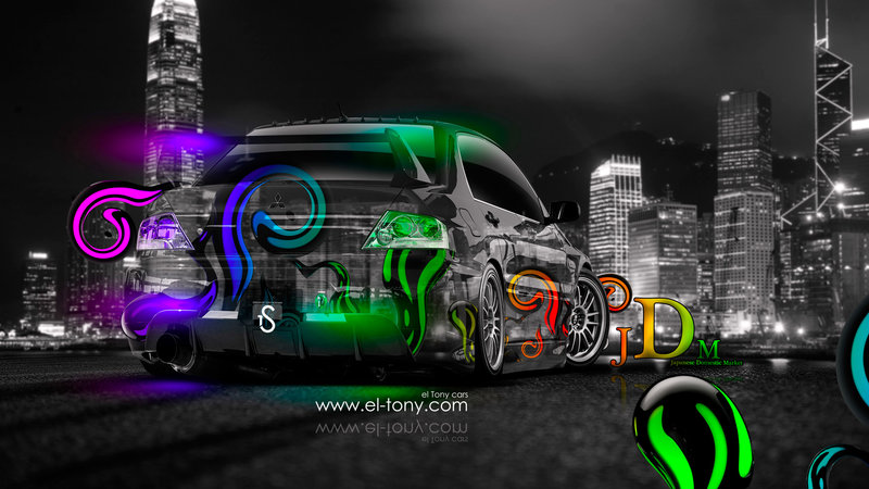 Mitsubishi Lancer Evolution JDM Effects Multicolors Back Crystal