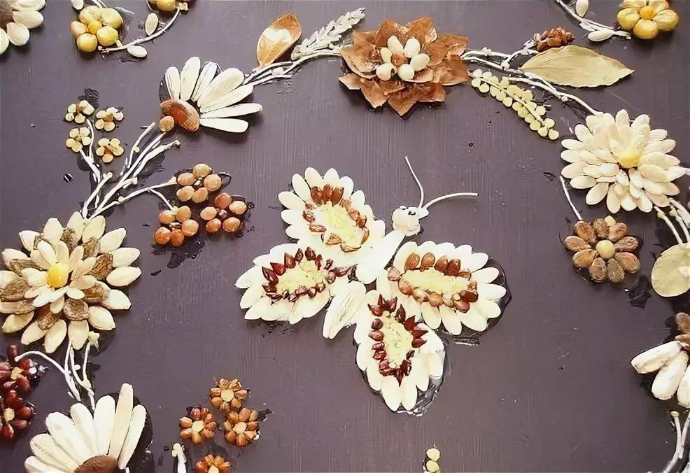 очень хороший картинки из семян и листьев украшение