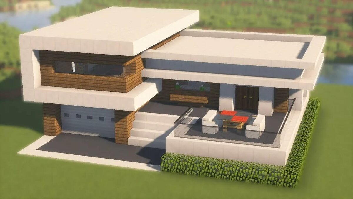 Дом майнкрафт в стиле хай тек