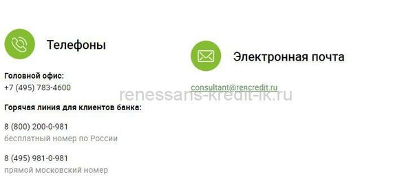 Телефон горячей линии банка ренессанс кредит в курске