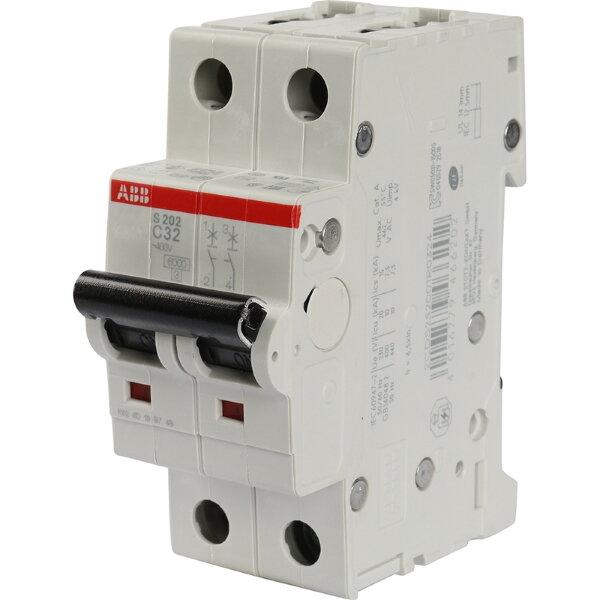 2 полюсный автоматический выключатель ABB серии S 202 С 32