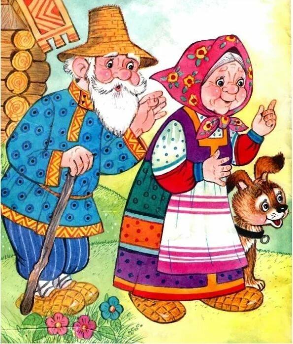 В картинках бабка и медведь