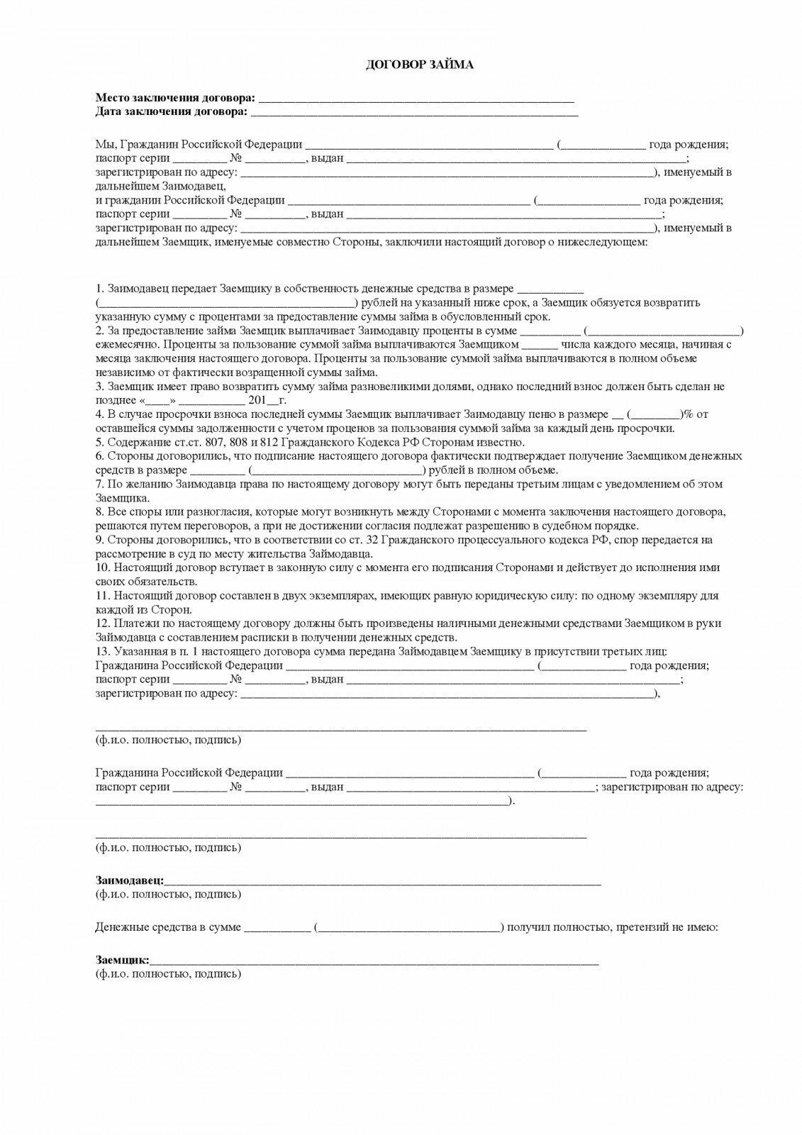 кредитный договор между физическими лицами образец