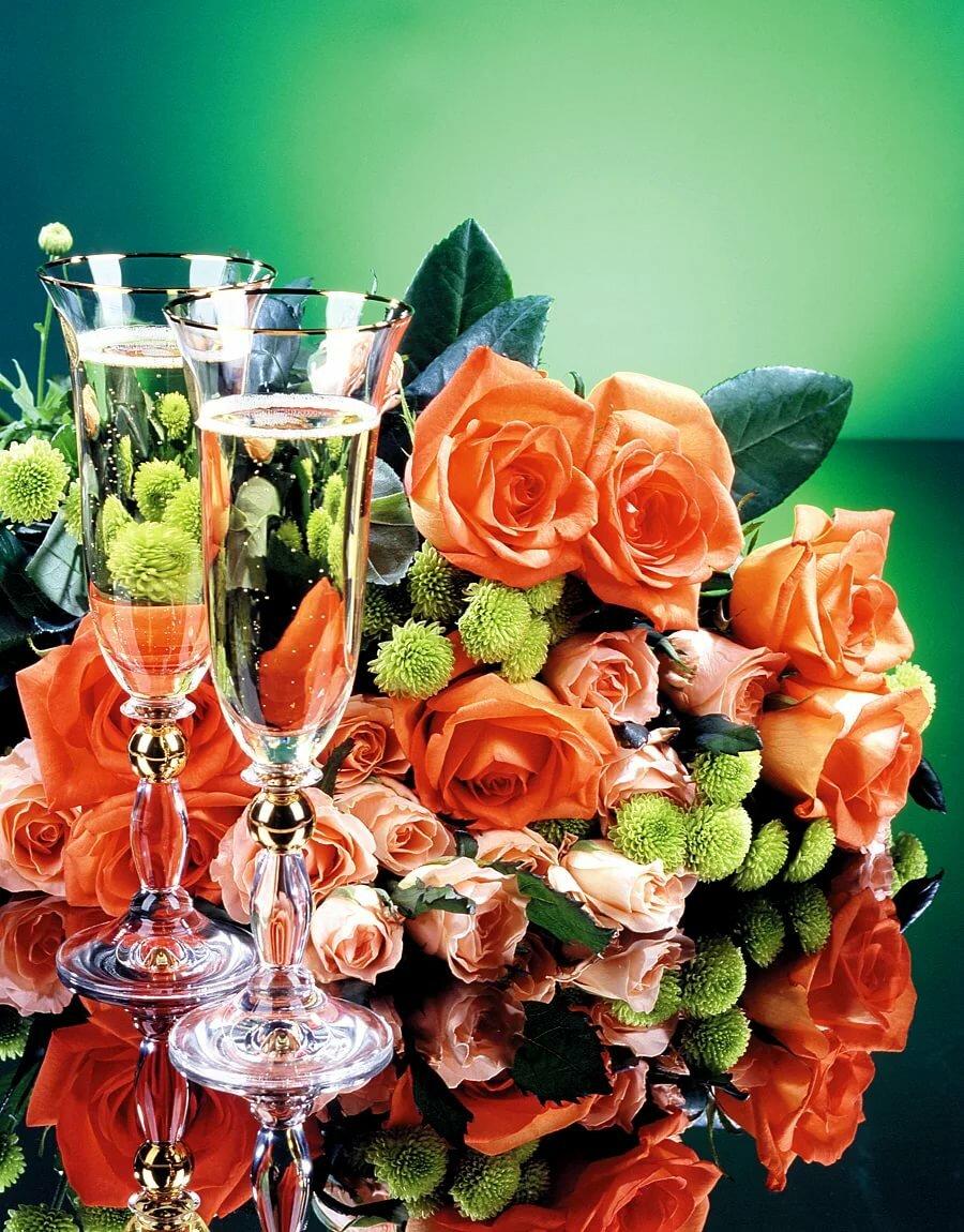 Лучшие картинки для женщины цветы шампанское, сделать открытку для