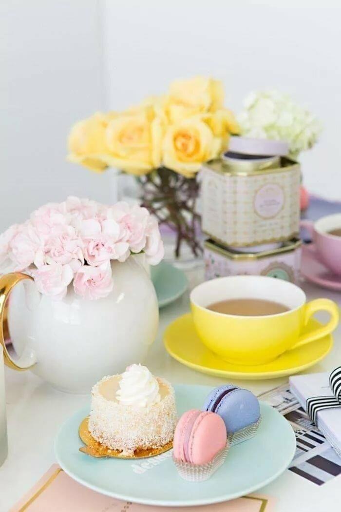 картинки с добрым утром торт и кофе цветы