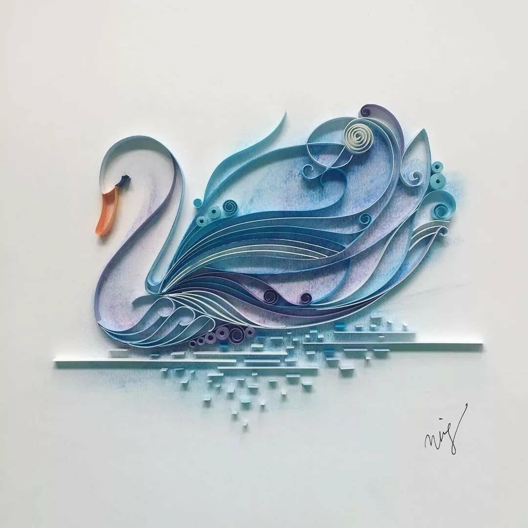 Объемные лебеди на открытку, днем рождения фирмы