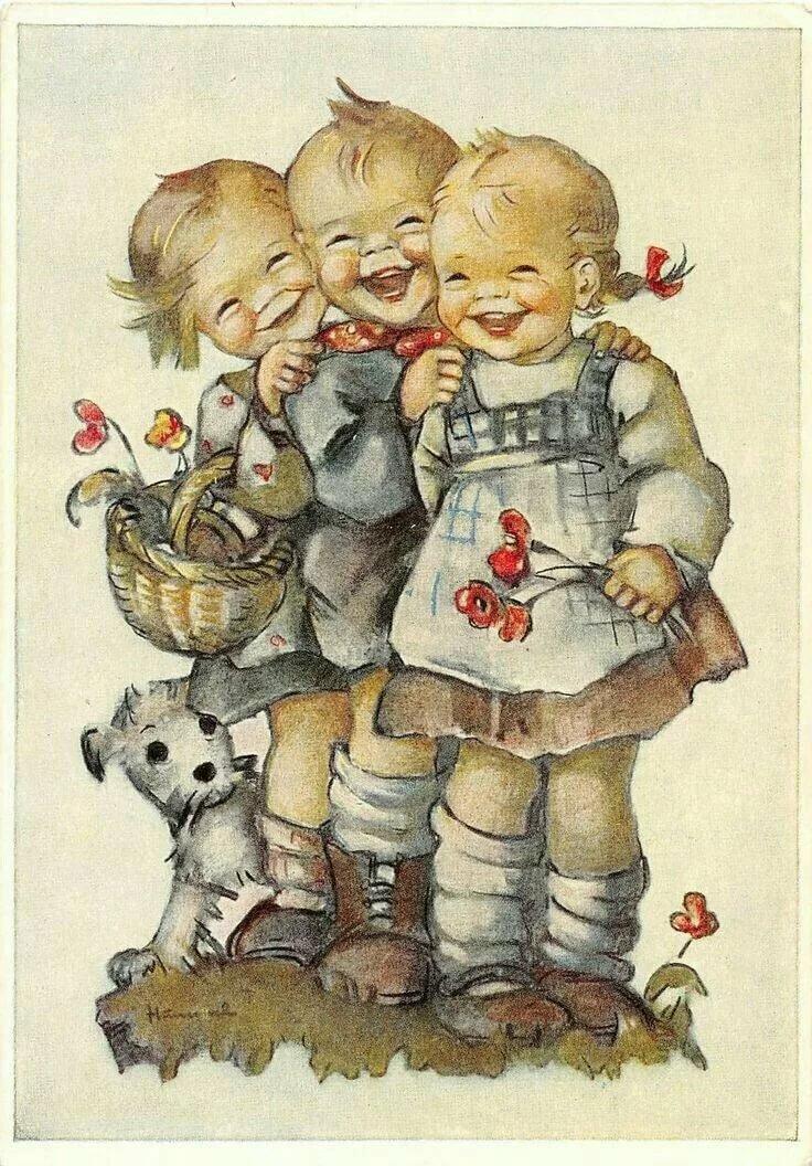 Ретро дети открытки