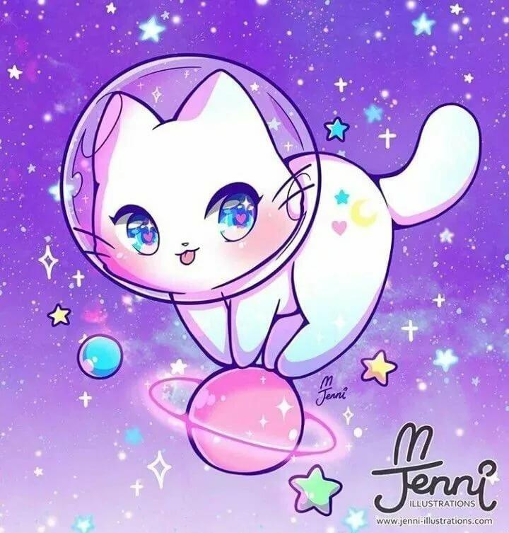 Картинки милых кошек аниме, любви