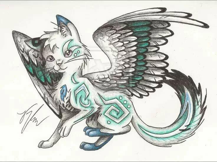 Кошки с крыльями аниме картинки