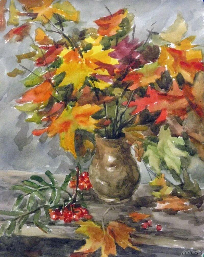 листья в вазе рисунок гуашью вновь подослали