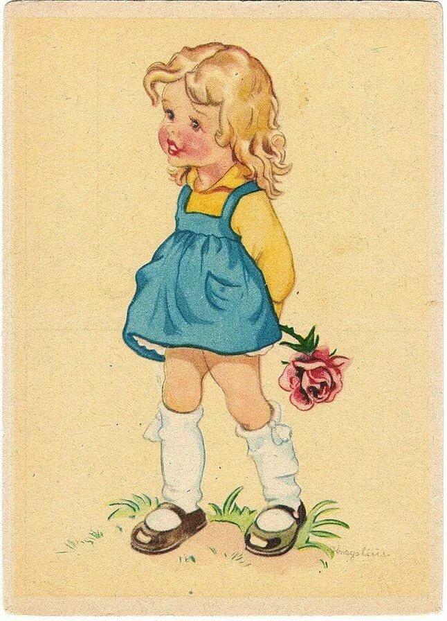 Открытки с изображением детей советские, надписью