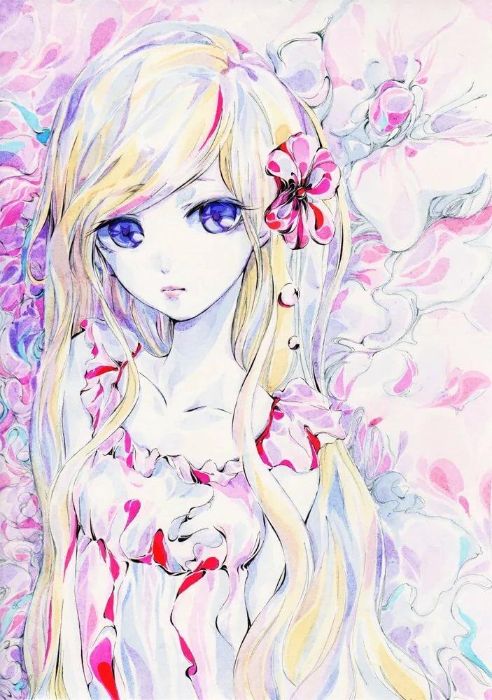 Картинки девочек нарисованные красивые аниме