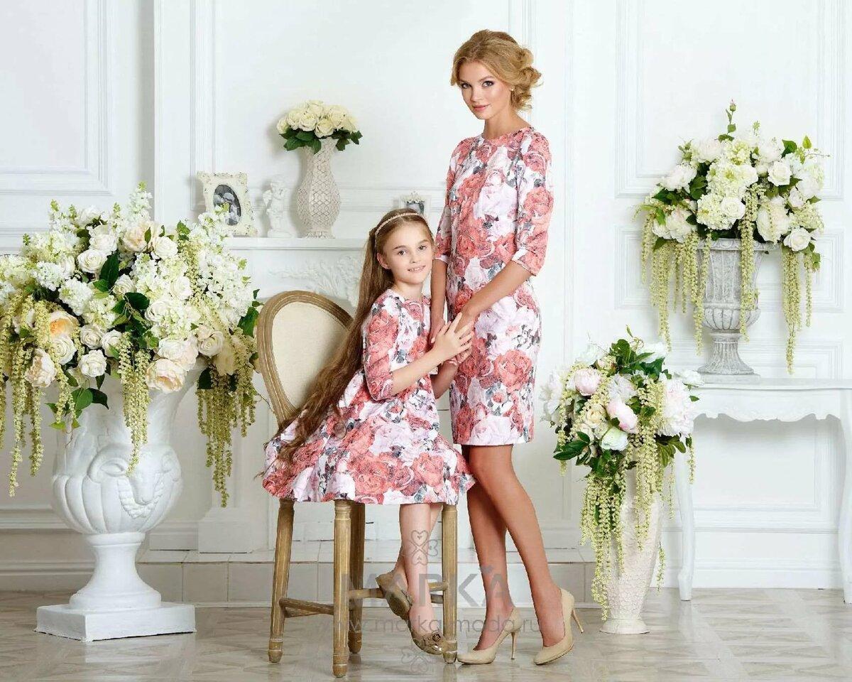 Картинки мамы с дочками в одинаковых платьях