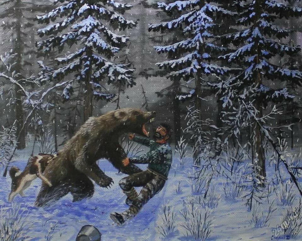 картинка охота на медведя с собаками постулат отход