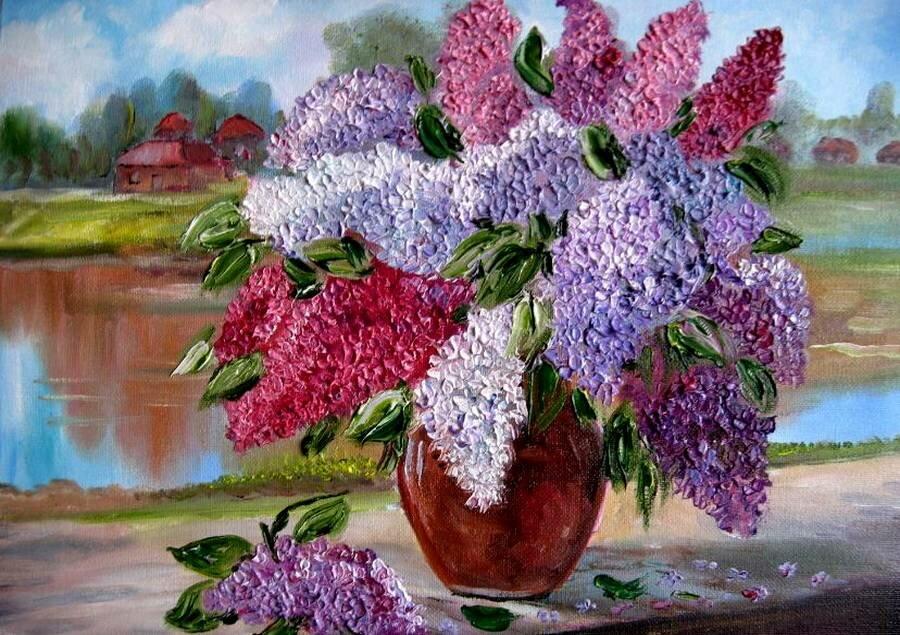 Картинки и рисунки про сирень в вазе